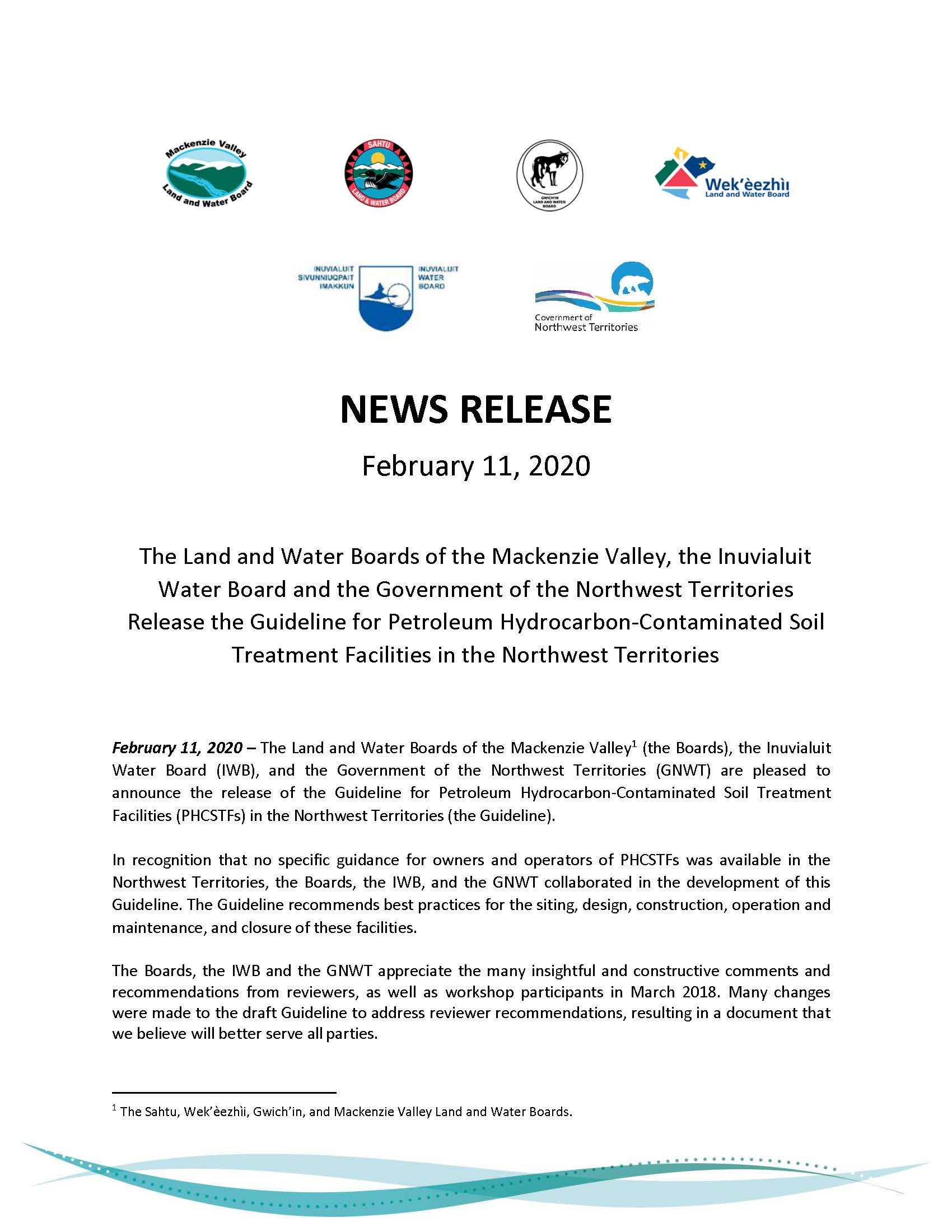 Media Release for PHCSTFS Guidelines in the NWT